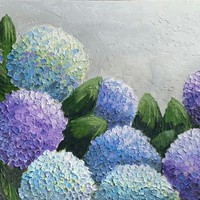 Newest Original Handmade Oil Painting Lifelike Colorful Hydrangea For Home Decor Supporting Any Other Size Or
