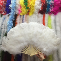 2pcs white Ostrich Feathers Fan With Bamboo Staves for Belly Dance Halloween Party Ornament Decor Necessary, 15 bones