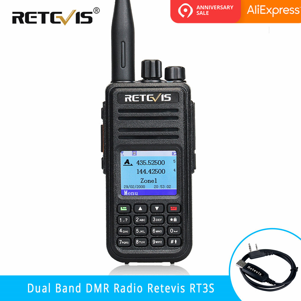 RETEVIS RT3S Double Bande DMR talkie walkie numérique (GPS) 5 W VHF UHF DMR Radio Station Dual Time Slot Jambon Radio Amador + ProgramCable