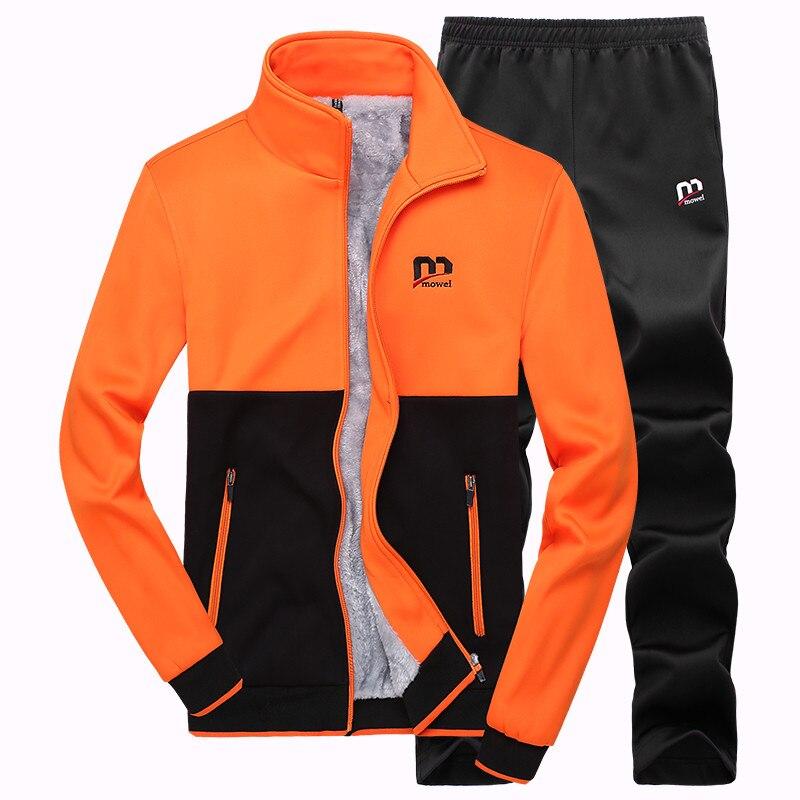 Men Fashion Two Pieces Sets Casual Tracksuit Male New Autumn Winter Plus Velvet Jacket+Pants Suits Male Sportswear Suit