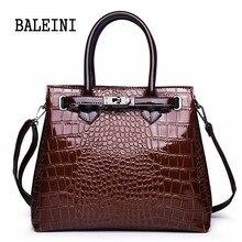 Women Crocodile Pattern Handbag Leather Designer Large Lock Shoulder Bag Black Female Hobos Alligator Messenger Bags