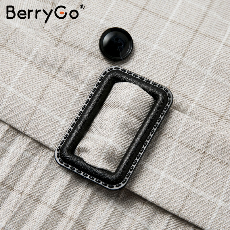 BerryGo Autumn winter women blazer dresses vestidos Pleated plaid long dress elegant Office ladies high waist belt female robe 13