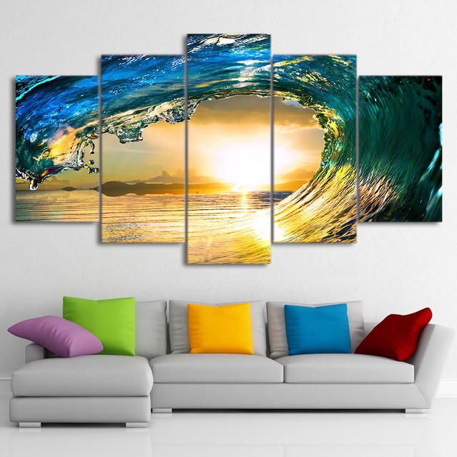 Home Decor Canvas Wall Art Poster Modern 5 Panel Waves Of The Sea ...