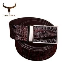 COWATHER 2019 bonne qualité vache en cuir véritable ceintures pour hommes alligator modèle automatique boucle hommes ceinture marque originale