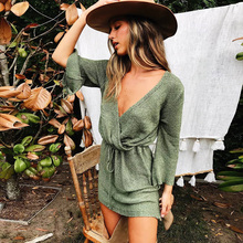ALLNeon V-Neck Criss Cross Ruched Sweater Dresses Drawstring Lace up Flare Sleeve Pullover Ladis Jersey 2019 Autumn Streetwear