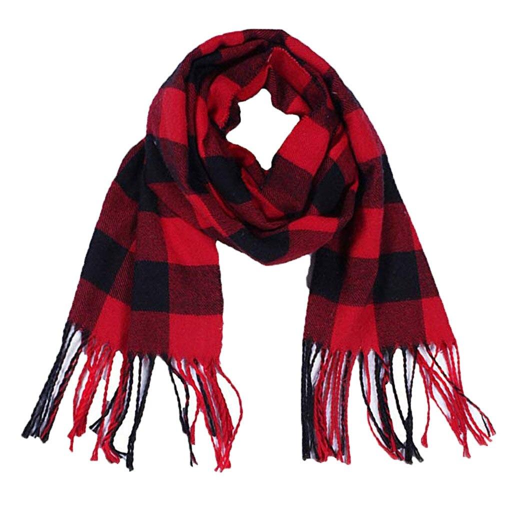 Unisex Fashion Warm Shawls Scarves Scarf Kids Womens Plaid Tassel Scarfs Fashion Polyester Casual Warm Scarfs #Zu