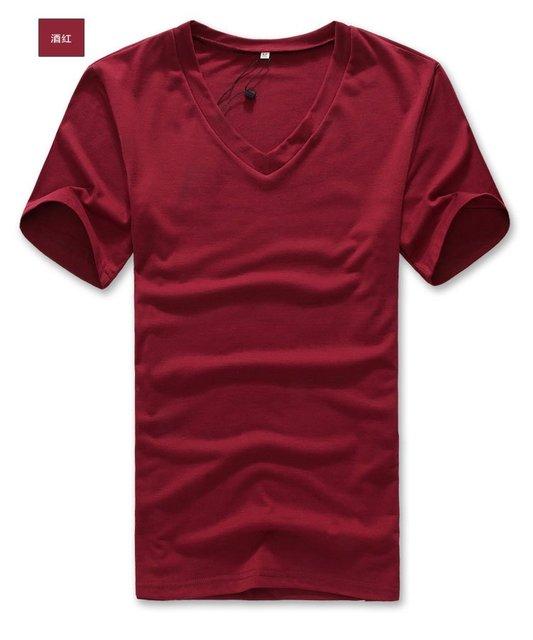 Summer men's wear  dark red Short sleeve  v neck t  t-shirts