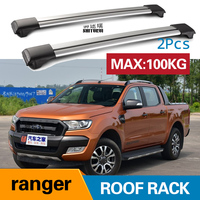 2Pcs Roof bars For FORD ranger super cab 4DOOR T6 2011+ 2017 2018 Aluminum Alloy Side Bars Cross Rails Roof Rack Luggage