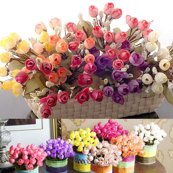 New 1pcs Artificial Flowers For Wedding Decorations Fake Silk Rose Flower Bouquet Home Decor Party Decoration Free Shipping In Dried