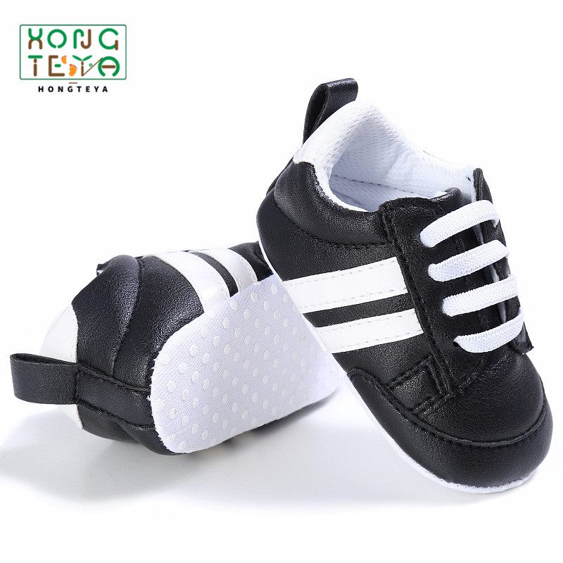 Pu Leather Stripe Pattern Baby Sports Sneakers Infant Toddler Soft Anti-slip Baby Shoes Newborn Baby Boys Girls Firstwalkers