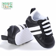 Pu Leather Stripe Pattern baby Sports Sneakers Infant Toddler Soft Anti-slip