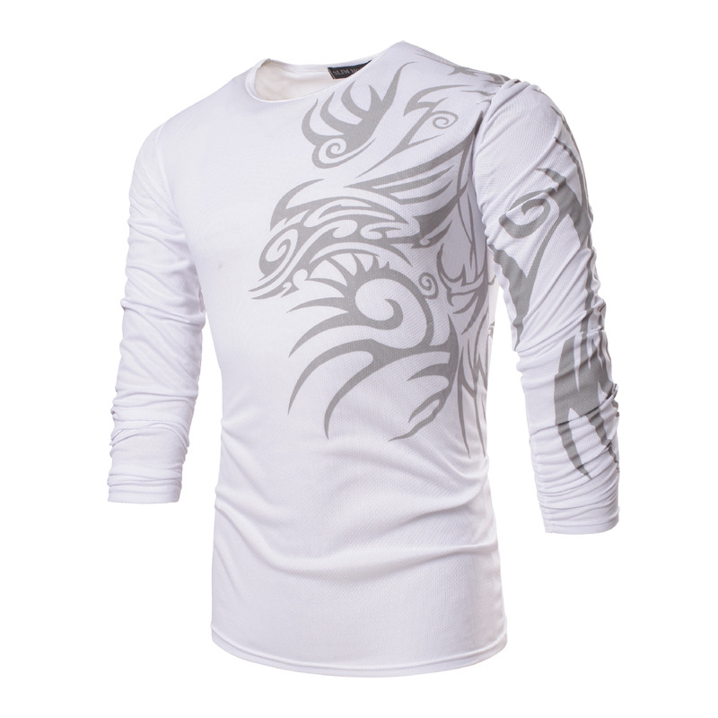 Cool Men Casual Dress Shirt Tribal Flowers Formal Long Sleeve Slim Fit T-Shirt