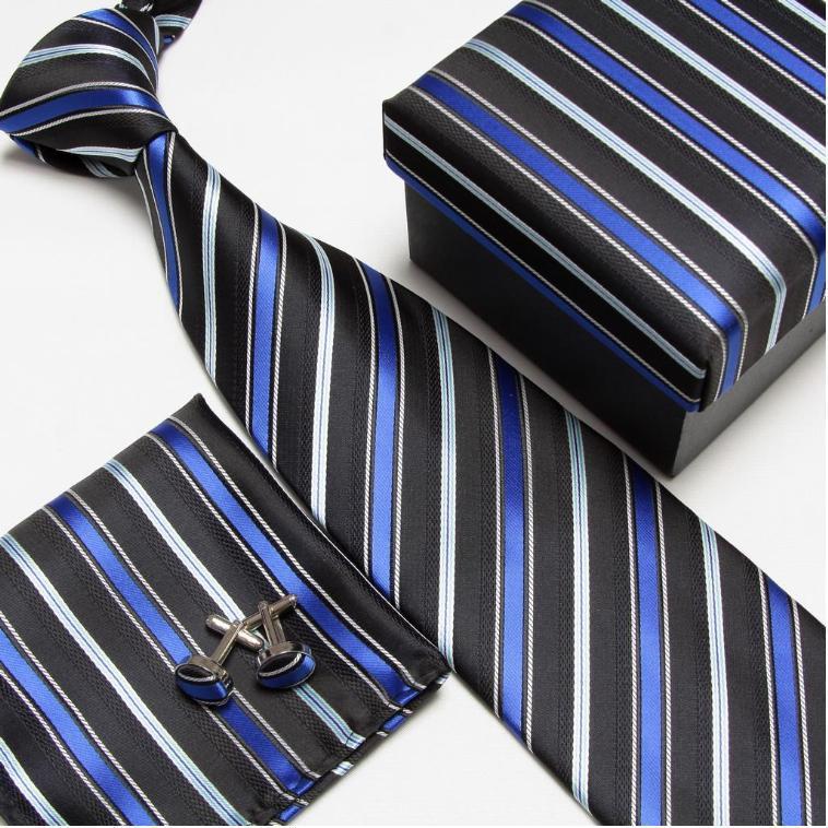 Мужская мода высокого качества набор галстуков галстуки запонки шелковые галстуки Запонки Карманный платок - Цвет: 5