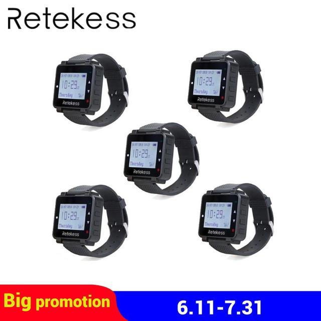 5 шт. RETEKESS T128 приемник часов 433,92 МГц для беспроводной системы вызова официанта вызова пейджер ресторанное оборудование обслуживание клиент...
