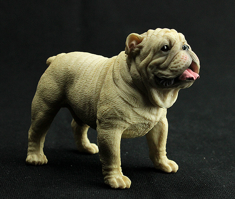 10cm Bulldog Simulation Dog Puppy Pet Animal Toy Resin for Collectible Action Figure Scene Toy lps toy pet shop sparkle eyes spotty dog action figure animal toys for children birthday gift