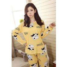 Осенне-зимняя женская одежда для сна с длинными рукавами пижамный комплект для отдыха домашняя одежда