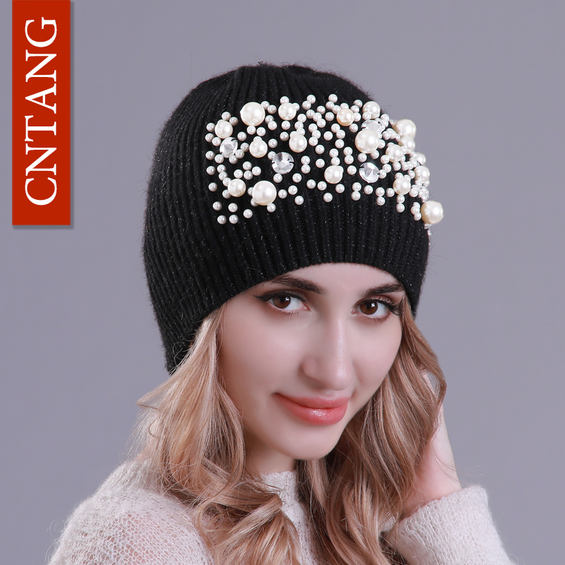 CNTANG 2018 Fashion Pearl Women Hats Autumn Winter Knitted   Skullies     Beanies   Warm Wool Cap Ladies slouchy Luxury Hat High Quality