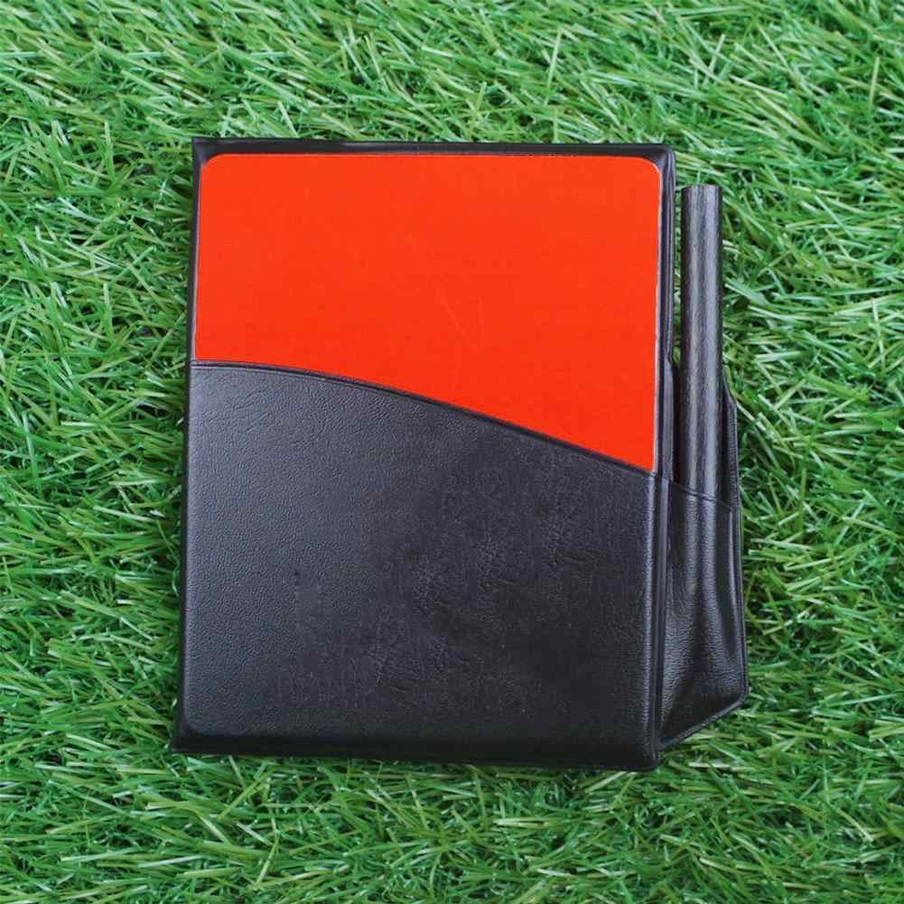 Rosso fluorescente Giallo di Carta con il Raccoglitore di Cuoio Della Matita La Registrazione della Carta Di Calcio Arbitro di Registrazione Carte Rosso Giallo