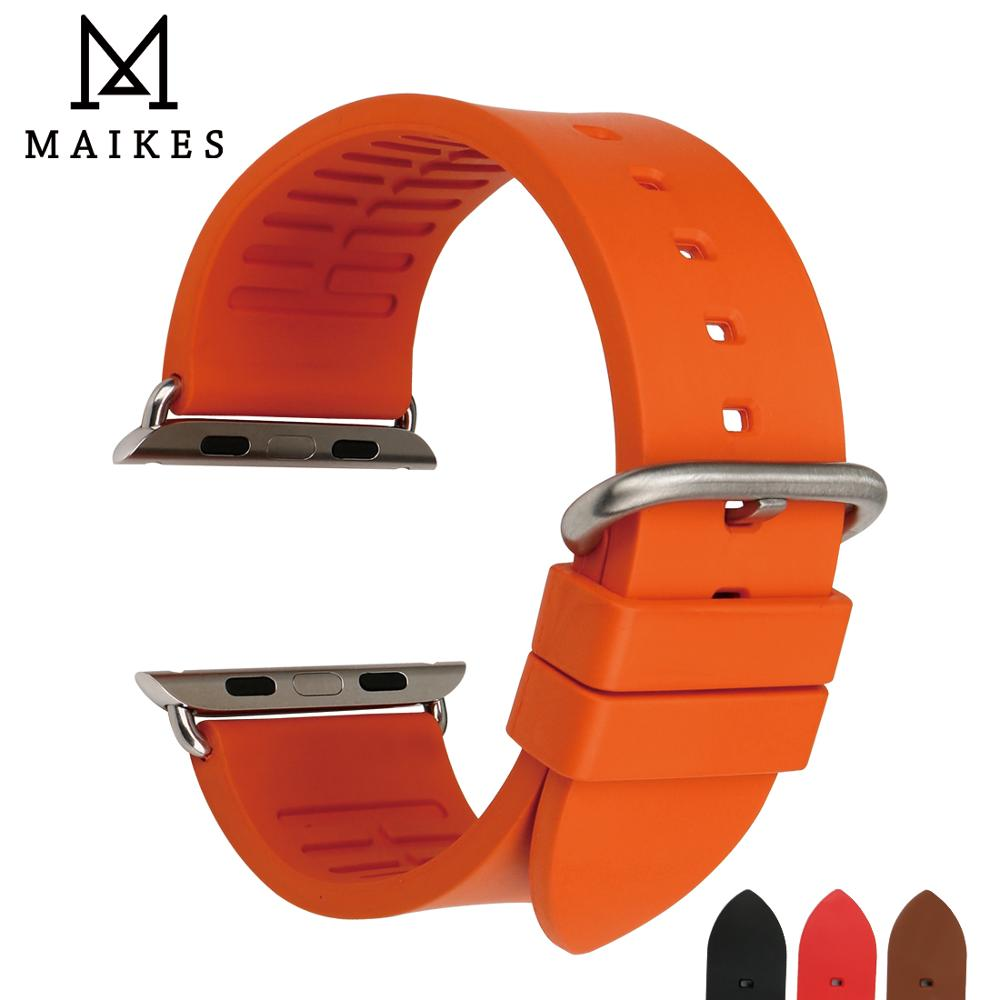 MAIKES Orange Rubber Watch Strap Sports Watchband Watch Accessories For Apple Watch Bands 42mm 38mm Series 3 2 1 iwatch Bracelet 42mm 38mm for apple watch s3 series 3