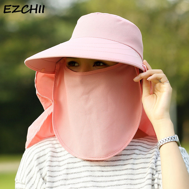 796b22f9904f6 Sun Hats Women Summer Fashion UV Protection Face Neck Flap Cap Men Outdoor  Sunbonnet Full Mask Bucket Hat Wide Brim Solid WS536