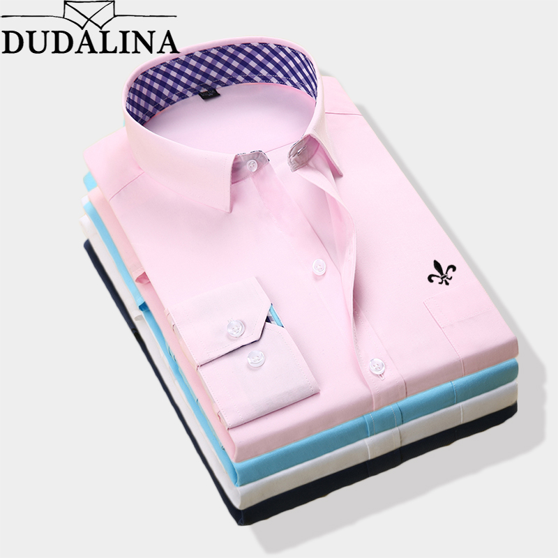 DUDALINA 2019 New Classical Dress Shirt Male Shirt Men Spring Autumn Long Sleeve Solid Twill Formal Business Men Social Shirts-in Casual Shirts from Men's Clothing