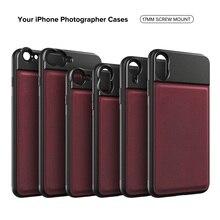 APEXEL 17mm fil coque de téléphone professionnel pour lentilles mobiles alliage daluminium + cuir téléphone étui pour iphone Samsung Huawei xiaomi