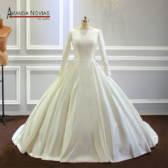 Vestido de novia sencillo de mangas largas de satén, nuevo Modelo 2020