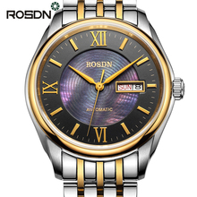 ROSDN Luxury Roman Gold Silver Full Steel Automatic Mechanical Watches Men Brand Sapphire Fashion Dress Business Watch 2017