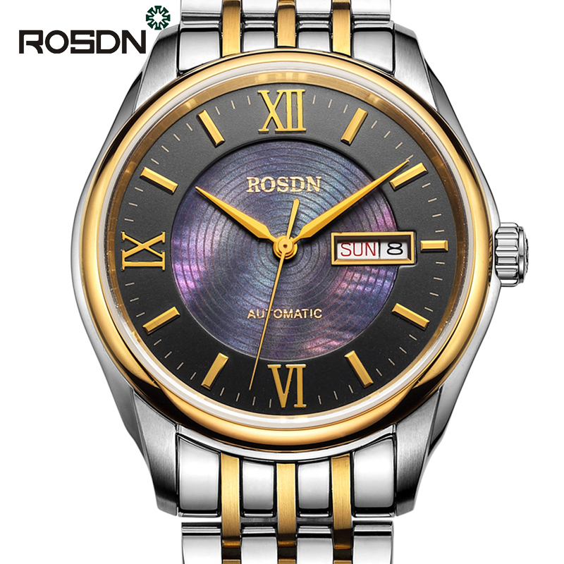 ROSDN Luxury Roman Gold Silver Full Steel Automatic Mechanical font b Watches b font font b