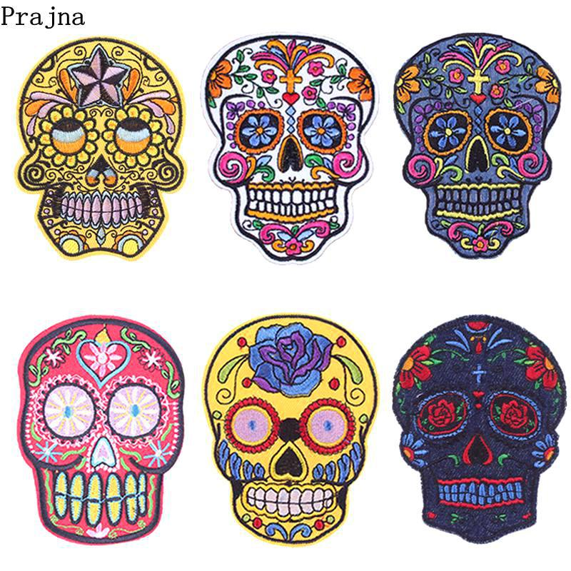 Prajna Punk Rock Skull Patches Embroidered Iron On Patches For Clothing Biker Style Rose Flower Sticker On Clothes Applique DIY