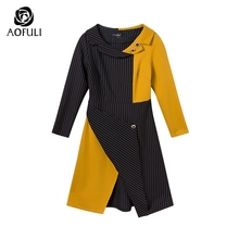 AOFULI M- 3XL 4XL Runway design asymmetrical dress Plus size autumn long sleeve knee-length stripe print dress Yellow B6269