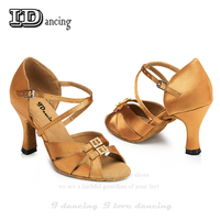 Dance Shoes Women's Ballroom Salsa Latin Shoes Sneakers Dance Shoes Ballroom Shoes Girls Black Bronze High Heel JuseDanc