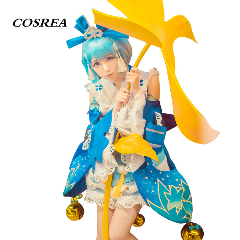 COSREA Hot Game Onmyoji Cosplay Costume 3D RPG Blue Kimono Dress Costumes Halloween Carnival Party For Adult Woman Girl