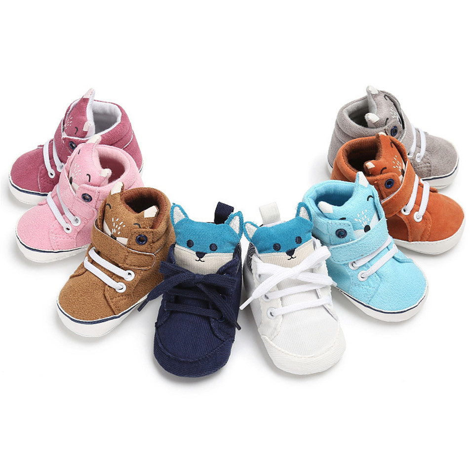 1 Pair Spring Autumn Cartoon Baby Shoes Kid Boy Girl Fox Head Lace Cotton Cloth First Walker Anti-slip Soft Sole Toddler Sneaker