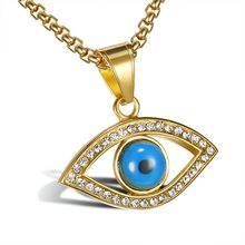 new Gold Color Silver Plated Blue Evil Eye Necklace with Rhinestone Enamel Pendants Necklace For men Protection Strength(China)