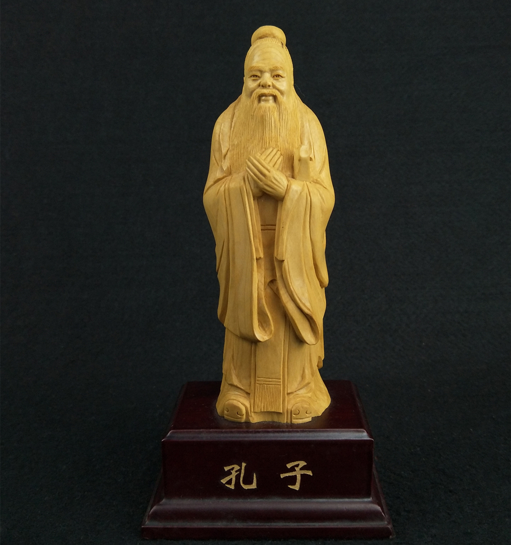 Home Decor Precise Miniature Confucius Statue Wood Statuette Carving Historical Figure Office Decoration Wood Ornaments Gift Home Decoration Pleasant In After-Taste Home & Garden