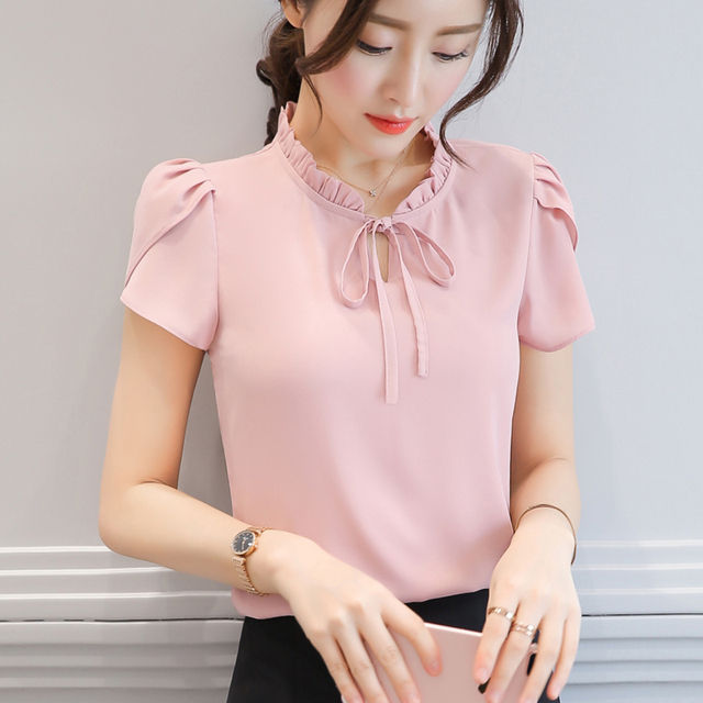550b2eec9f4d2 ... Chiffon Shirt Ladies Ruffles Stand Neck Shirts Short Sleeves Women s  Blouses Tops Plus Size. Previous. Next