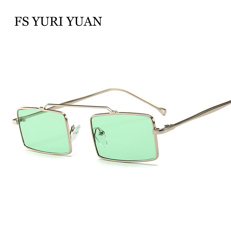 FS YURI YUAN Small Size Rectangle Frame Women Sunglasses Retro Metal Men Glasses Brand Designer Female Green Purple Sun Glasses