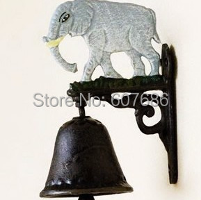 2 Pieces Small Bell of Welcome Elephant Cast Iron Mascot Welcome Dinner Bell Metal Craft Home Shop Wall Outdoor Decor Free Ship