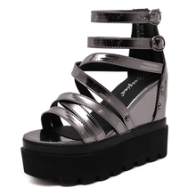 New Summer Lady Platform Wedge Sandals Leather Peep Toe Ankle High Sandals Women Gladiator Shoes