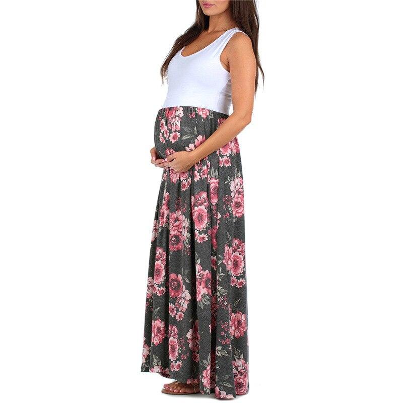 Maternity Clothes Summer Dress Sleeveless Patchwork Print Vestido Pregnant Women Dresses Pregnancy Clothing M80