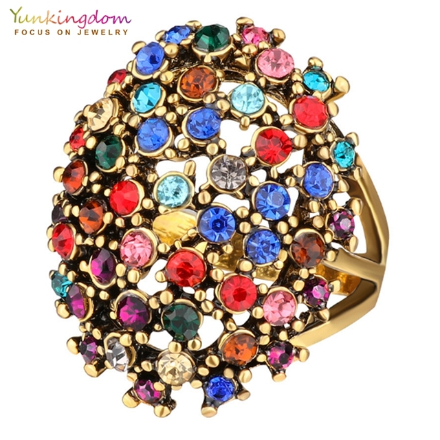 Yunkingdom Charms Bohemia Jewelry Antique Silver /Gold Color Resin Ethnic Rings