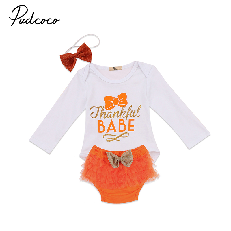 0-24M Cute Newborn Baby Girl Clothing Thanksgiving Baby Cotton Romper Tops+Tutu Lace Bloomers Short Bow Headband 3PCS Outfits