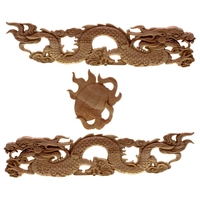 RUNBAZEF The Chinese dragon Wood Long Floral Carving Applique Home Decoration Accessories Door Cabinet Furniture Figurines