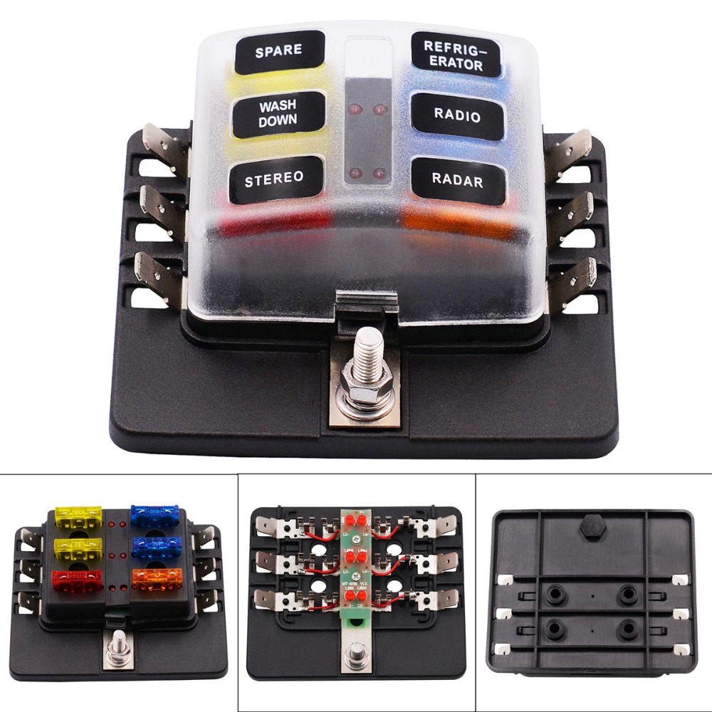 Max 32v Plastic Cover 6 Way Blade Fuse Box Holder M5 Stud With Led Indicator For Auto Car Boat Marine In Fuses From Automobiles Motorcycles On