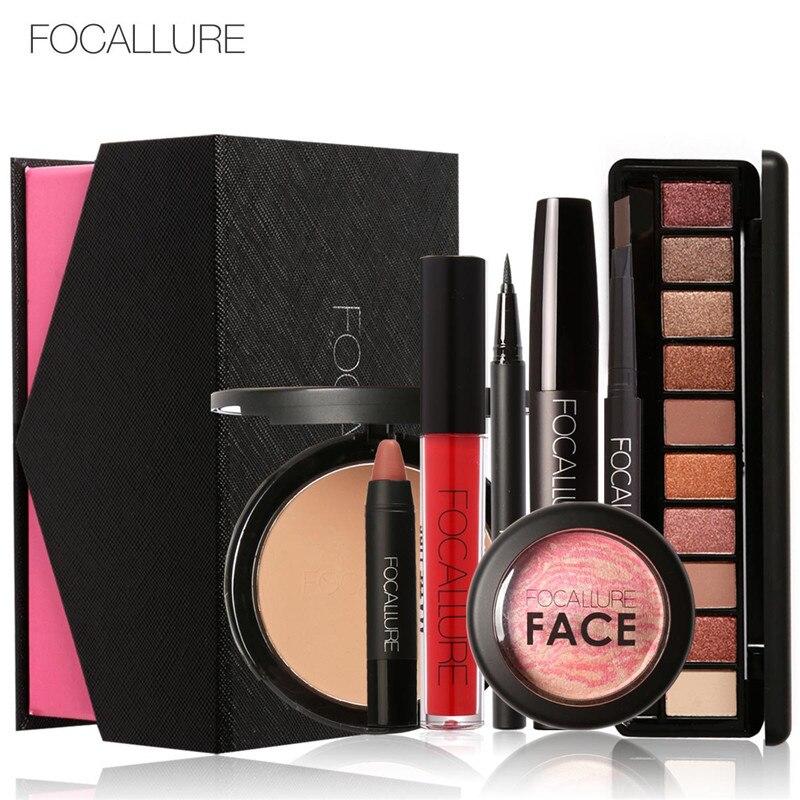 Focallure Uso Quotidiano cosmetici 8 pz/set con la Scatola Rossetto Opaco Ombretto Lip Gloss Blush Mascara Eyeliner Cipria