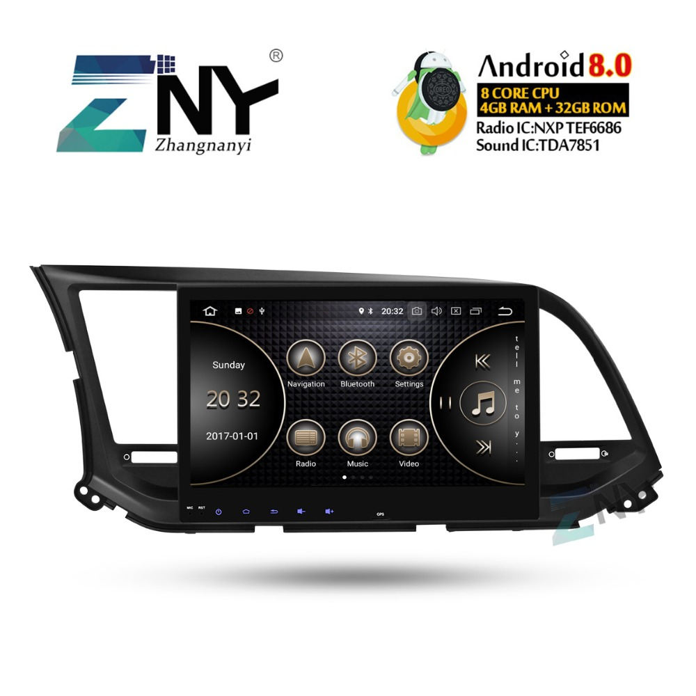 10.1 IPS Android 8.0 Autoradio GPS Pour Hyundai Elantra 2016 2017 Auto Radio FM + En Option DSP/ carplay/DAB +/64 GB ROM/Perroquet BT