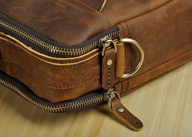 "HTB1gBTPXzzuK1RjSspeq6ziHVXaa Le'aokuu Men Real Leather Antique Style Coffee Briefcase Business 13"" Laptop Cases Attache Messenger Bags Portfolio B207-d"