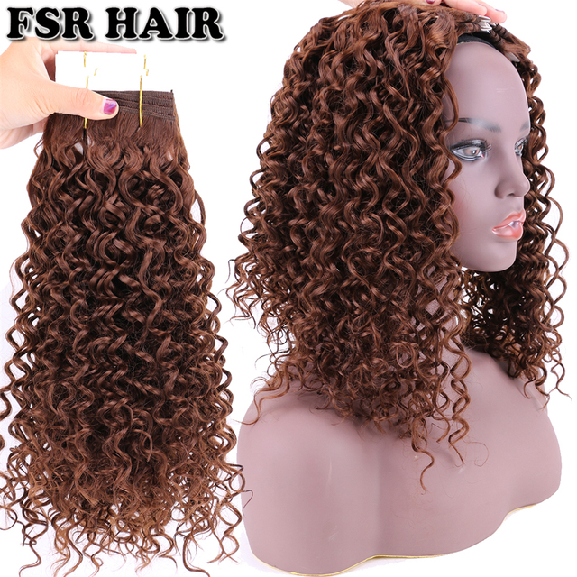 Color 6 Dark Brown Synthetic Hair Weaving Water Wave Style Curly