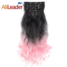 Alileader 22inch 6pcs/set Curly 16Clips In False Curly Hair Extension Heat Resistant Ombre Hairpiece For Human Black Brown Pink(China)